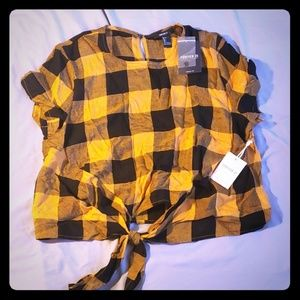 Mustard Yellow and Black Plaid Top